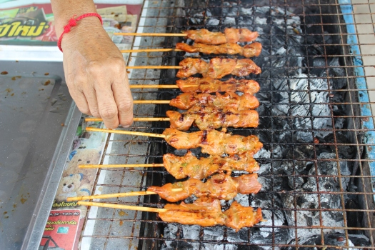 pork, meat sticks, northern Thailand, Thai food, Thai market